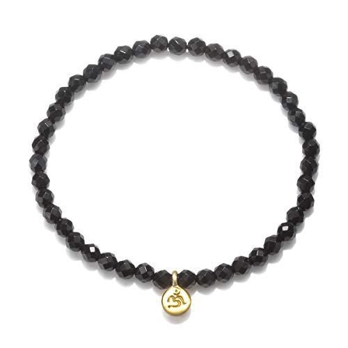 Satya Jewelry Black Onyx Mini Om Stretch Bracelet 4-Millimeter