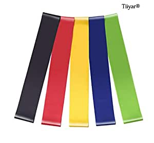 Tiiyar Resistance Loop Bands - Set of 5 Exercise Bands from Beginners to Advanced/5-45 lbs