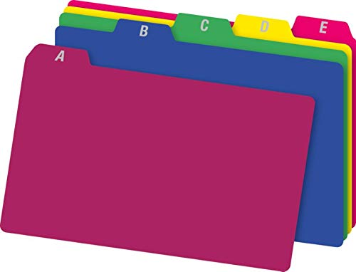 Office Depot Card - Office Depot A-Z Index Card Guides, 4in. x 6in, Assorted Colors, Pack of 25, OD73154