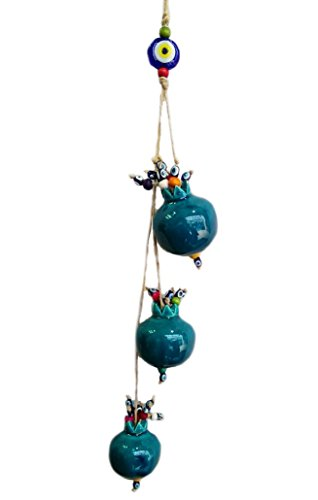 Alhamra Wall Hanging Apples Evil Eye Figurine Ornament, Home Decor Accent (Navy)
