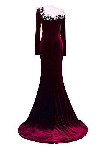 Drehouse Cristal Perles Manches Longues Robes De Bal Sirène Robes De Soirée Bourgogne Bourgogne Femmes