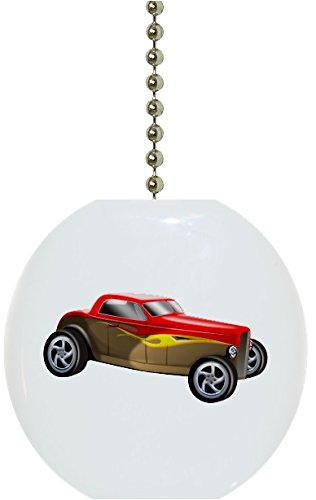 Red and Yellow Roadster Hot Rod Car Solid Ceramic Fan Pull Ceramic Ceiling Fan Pull
