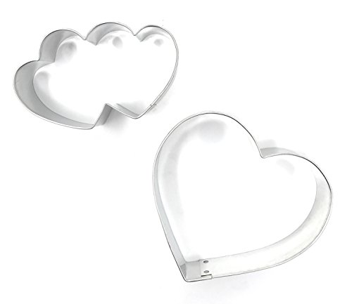 TwiceBooked Valentine Lovers Celebration Cookie Cutter Bundle - Set of 2 Includes Single & Double Hearts Sized at 3 1/2 - 4 Inch Metal Cutters - Made in the USA