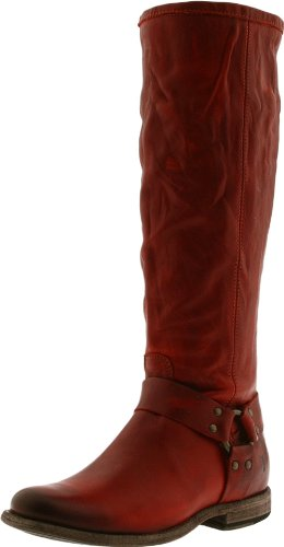 FRYE Women's Phillip Harness Tall Boot, Burnt Red Soft Vintage Leather, 6.5 M US - Frye Phillip Tall Riding Boot