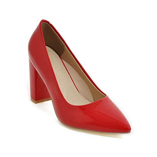 Lsm Shallow Heels Heel Block Pointed Shoes Toe Women's Mouth ZUFZP