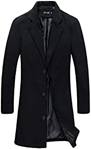Beninos Mens Trench Coat Slim Fit Notched Collar Overcoat