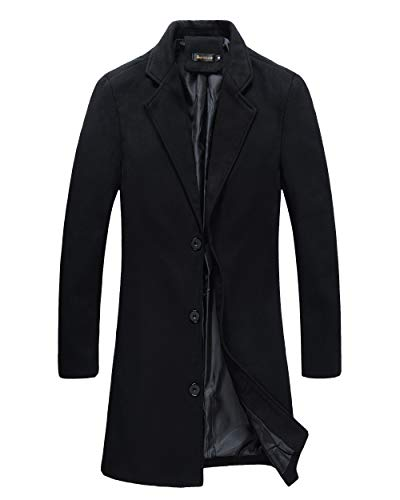 Beninos Mens Trench Coat Slim Fit Notched Collar Overcoat (F20 Black, S)