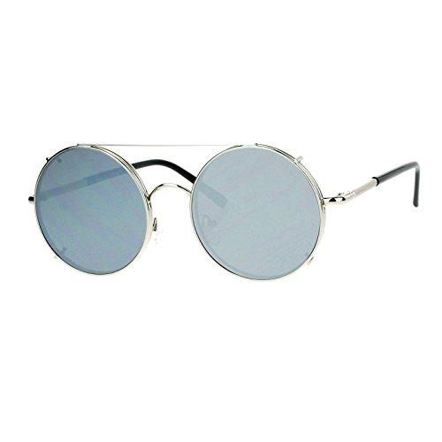 SA106 Metal Round Circle Lens Detachable Clip On Sunglasses Silver - Detachable Sunglasses