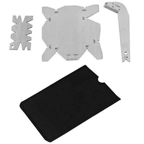 Calibrador de ángulo de brocas, Juego de medidores de medición de inspección de ángulo S/S de 3 piezas