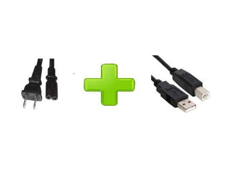 Fig 8 Power Cord plus Black USB Cable for Epson Stylus CX7450 7400 7000F Printer