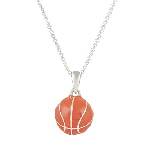 D EXCEED Sports Jewelry Enamel Ball Pendant Thin Linked Chain Necklaces for Women 18+3 Extension ( Basketball/Orange )
