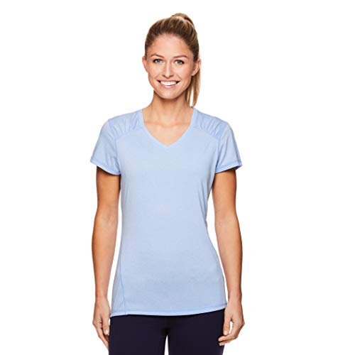 Head Ladies Tee - HEAD Women's Perfect Match Short Sleeve Workout T-Shirt - Performance V-Neck Activewear Top - Serenity Heather, Small