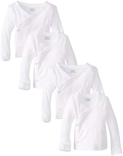 Gerber Unisex-Baby Newborn 4 Pack Long Sleeve Side Snap Mitten Cuffs Shirt