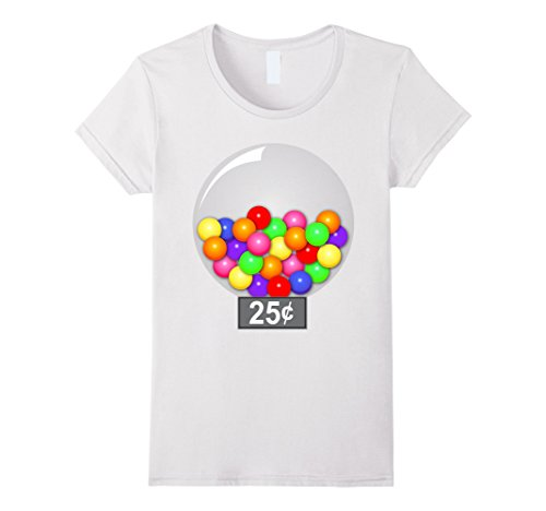 Womens Gumball Machine Quarter Couples Halloween Costume T-Shirt Small White