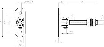 KOTARBAU Ange de tourbe galvanis/é Filetage M 16 mm r/églable avec plaque de vissage r/églable avec pince /à ressort