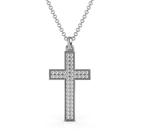 Frostrox Sterling Silver 1/2 Cttw Round Brilliant-Cut Diamond (G-H Color, I3 Clarity) Religious Cross Pendant