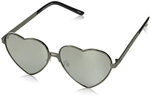 Gold Wire Heart (zeroUV Women's Cute Fashion Wire Metal Inset Lens Love Lolita Heart Shaped Aviator Sunglasses, Black / Gold Mirror, 55 mm)