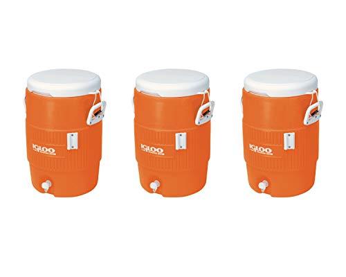 "Igloo 5-Gallon Heavy-Duty Beverage Cooler, Orange & Ultimate Drip Catcher Set (3 Set, 5-Gallon, 14.5"" x 13"" x 19.5"", Orange)"