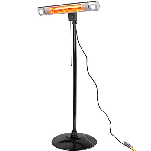 XtremepowerUS Infrared 1500W Patio Heater, Wall Mount or Free Standing with Led Light