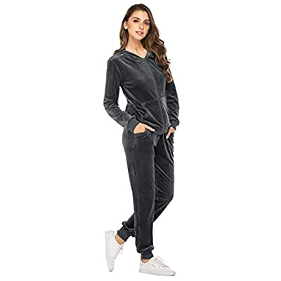 Hotouch Sweatsuits Set Womens 2 Piece Sweatshirt & Sweatpants Velour Full Zip Hoodie Tracksuits Sportswear with Pocket at Women's Clothing store