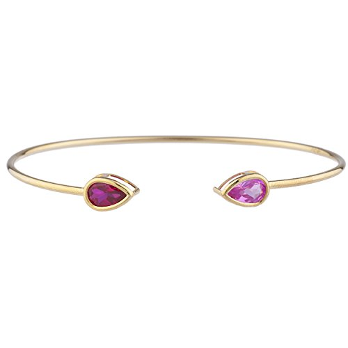 Created Ruby & Created Pink Sapphire Pear Bezel Bangle Bracelet 14Kt Yellow Gold Plated Over .925 Sterling Silver (Bangles Ruby Silver)
