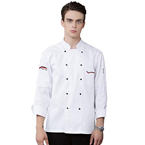 lightclub Spring, Autumn, Winter Solid Color stand collar Double row buttons Unisex Long Sleeve Chef Shirt Top Cook Chef Costume For Restaurant Hotel Kitchen White XXXL -