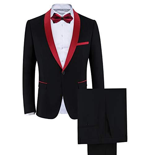 WEEN CHARM Men's Shawl Lapel One Button Slim Fit 2 Pieces Suit Black-red -