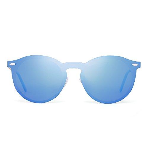 Polarized Rimless Sunglasses One Piece Reflective Round Mirror Glasses Men Women (Gold / Polarized Blue) (Seaside Mirror)