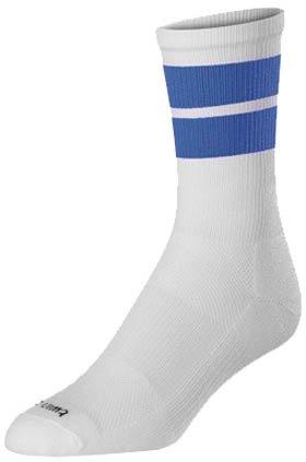 TCK Sports Motion 2 Stripe Crew Socks (White/Royal, Large)
