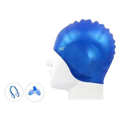 - Swim Cap, Waterproof Silicone Bathing Solid Swimming Cap with 3D Ergonomic Ear Pockets,No-Slip,High Elasticity & No Deformation Swim Hat with Nose Clips, Earplugs for Long Short Hair Women Men (Blue)