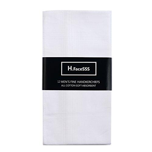 H.FaceSSS Men's Handkerchiefs White 100% Cotton Pack of 13 Fine Pocket Square Hankies by H.FaceSSS (Image #2)