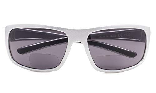(Bifocal Sunglasses UV 400 Protection Reading Sunglasses Shiny-Silver Frame Grey Lens+3.50)