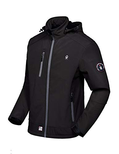 - Little Donkey Andy Men's Softshell Jacket with Removable Hood, Fleece Lined and Water Repellent Black Size XXL