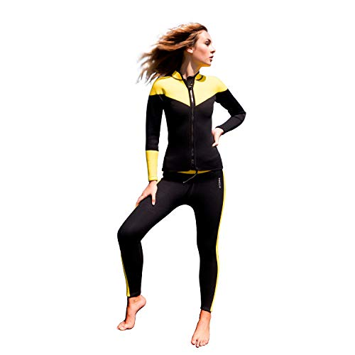 Wetsuit Piece Two Neoprene (2 mm 2 Piece Set Wetsuit for Women Neoprene | for Scuba Diving Surfing Kayaking Swimming Running (S))