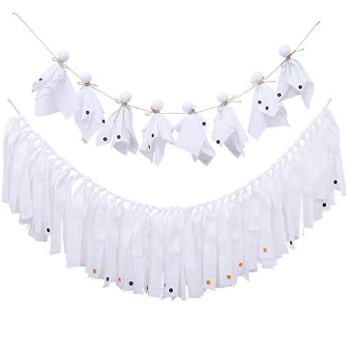 Halloween Ghost Doll Garland White Cloth Wedding Birthday Table Tassel Party Decoration by Gukansan