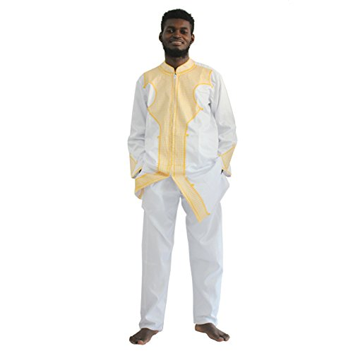 HD Dashiki African Couple Clothing for Man, Traditional Bazin Shirt Men Wedding Dresses,M-White XL (Best African Clothing Styles)