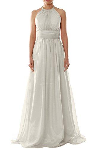 Halter Women MACloth Long Bridesmaid Chiffon Dress Party Wedding Evening Elfenbein Gown q51w1ax