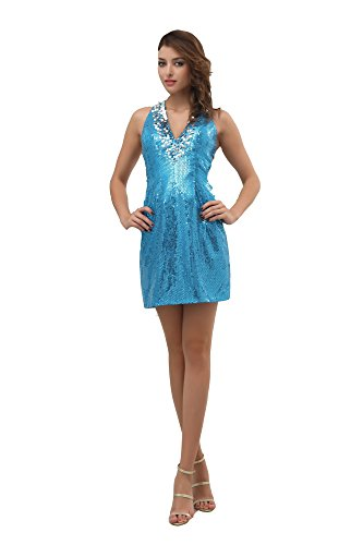 Vogue007 Womens V-neck Sleeveless Pongee Full Dress with Sequin, Blue, 16 by Unknown
