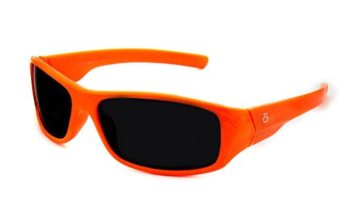 Kids Wraparound Sunglasses for Boys and Girls – Non Polarized Smoke Lenses With Gray Tint - Neon Orange - by Optix - Ten Polarized Top Sunglasses