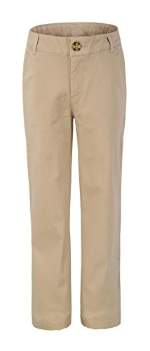 Bienzoe Girl's School Uniforms Stretchy Twill Adjust Waist Flat Front Pants Khaki Size 5