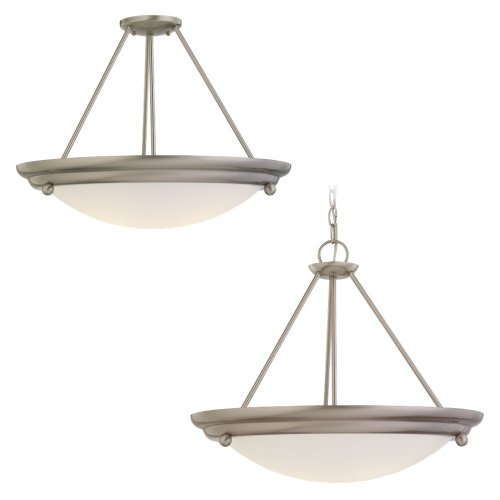 Sea Gull Lighting 69133BLE-98 3-Light Centra Energy Star Compliant Fluorescent Pendant, Satin White Glass and Brushed Stainless