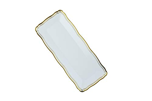 Plastic Serving Tray   White Rectangular Serving Trays With Gold Rim Border, Disposable Heavyweight Serving Party Platters, 13.75