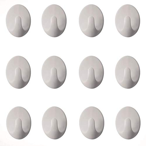 (Emmix 12 Pack White Hooks, Versatile Powerful Adhesive Wall Hooks for Bathroom Kitchen Living Room Etc)