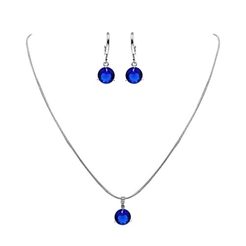 DUOC Round Zircon Crystal Wedding Party Prom Bridal Necklace and Earrings Jewelry Set (Blue)