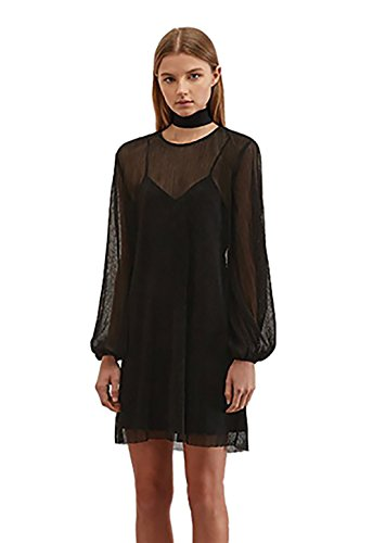 Keepsake Stepped Down Long Sleeve Mini Dress in Black (Extra Small)