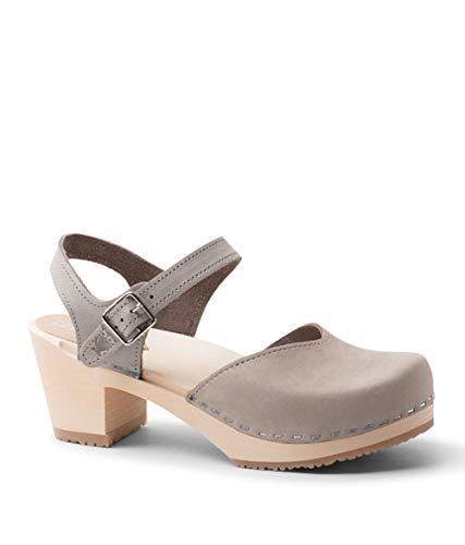 (Sandgrens Swedish Wooden High Heel Clog Sandals for Women | Victoria Stone, EU 36)
