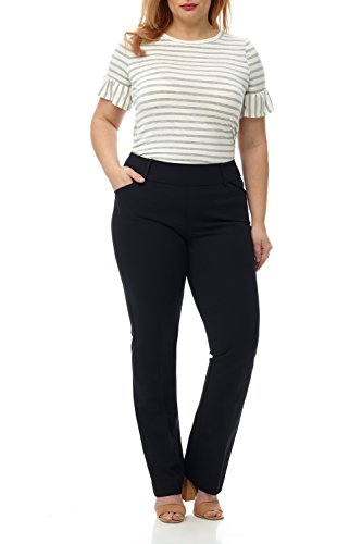 Bootcut Belt - Rekucci Curvy Woman Plus Size Pull-On Bootcut Pant in Ultimate 360 Degree Stretch Cotton (16W,Black)