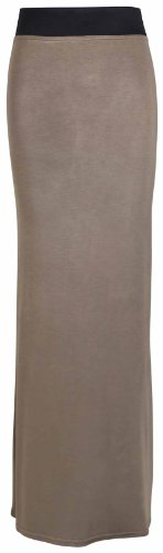Brun Clair Uni Grande Ceinture Robe Élastique Neuf Taille Été Jupe Droit Femmes Contraste Long f1O67qx