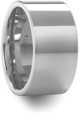 Thorsten Stockton Flat Pipe Cut White Tungsten Ring 12mm Wide Wedding Band from Roy Rose Jewelry