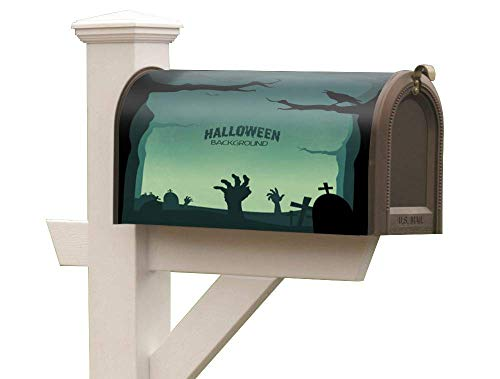 ropto PVC Magnetic Mailbox Cover Anti-Fade to Extend Holiday Greetings Mailbox Flag Halloween Background cat Ghost Fits Standard Size]()
